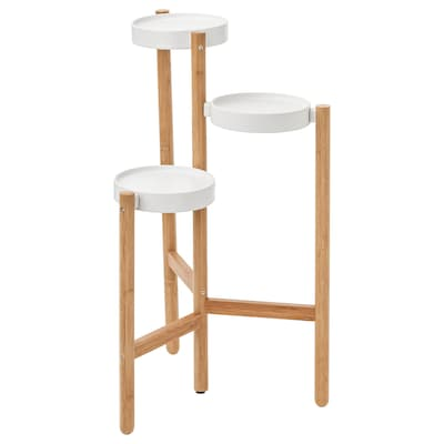 SATSUMAS Pedestal para plantas, bambú/blanco, 78 cm