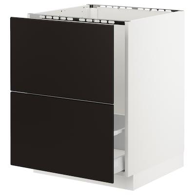SEKTION Clóset bajo 2 tarjas de frente, blanco Maximera/Kungsbacka carbón, 61x61x76 cm