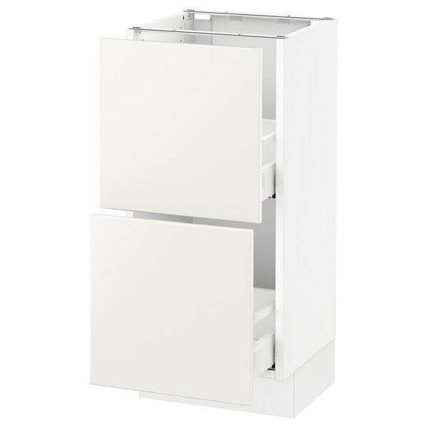 SEKTION Clóset bajo cocina, 2 cajones, blanco Maximera/Veddinge blanco, 38x37x76 cm