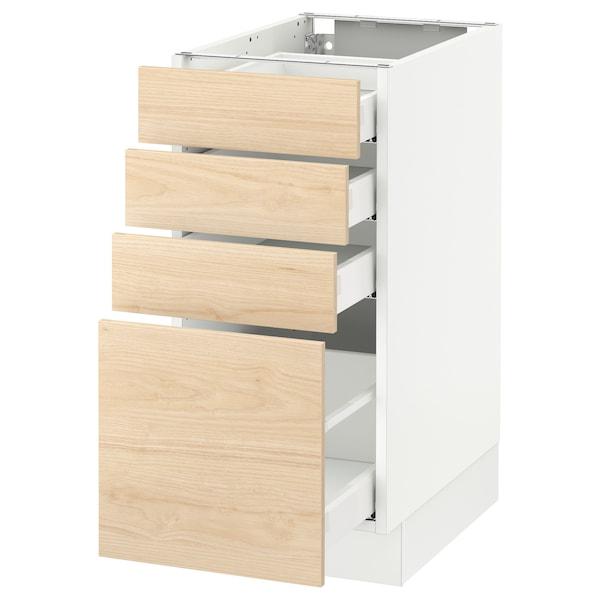 SEKTION Clóset bajo cocina, 4 cajones, blanco Maximera/Askersund efecto fresno claro, 38x61x76 cm