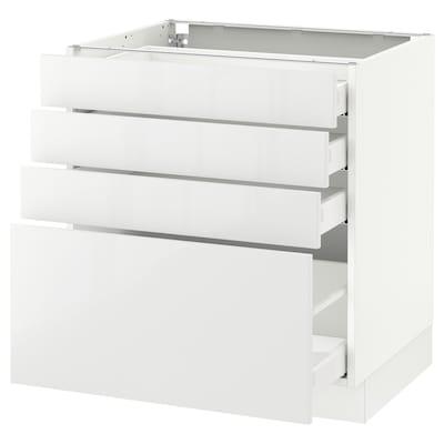 SEKTION Clóset bajo cocina, 4 cajones, blanco Maximera/Ringhult blanco, 76x61x76 cm