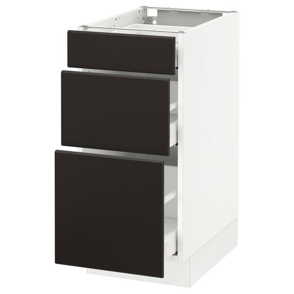 SEKTION Clóset bajo cocina, c/3 cajones, blanco Maximera/Kungsbacka carbón, 38x61x76 cm