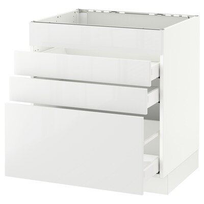 SEKTION Clóset bajo p/ parrilla 3 cajones, blanco Maximera/Ringhult blanco, 76x61x76 cm