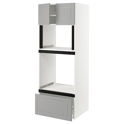 SEKTION Gabinete alto para horno, blanco/Bodbyn gris, 76x61x203 cm