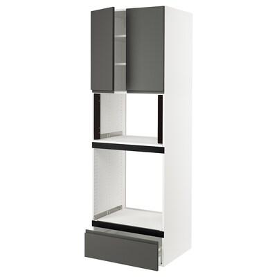 SEKTION Gabinete alto para horno, blanco/Voxtorp gris oscuro, 76x61x229 cm