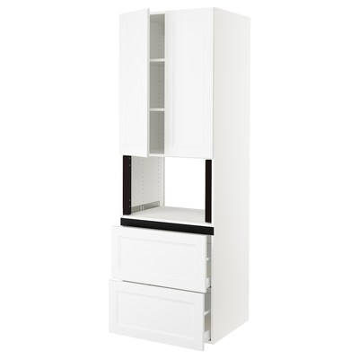 SEKTION Gabinete alto para microondas, blanco/Axstad blanco mate, 76x61x229 cm