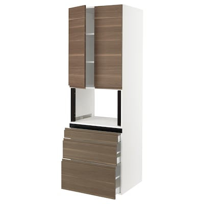 SEKTION Gabinete alto para microondas, blanco/Voxtorp efecto nogal, 76x61x229 cm