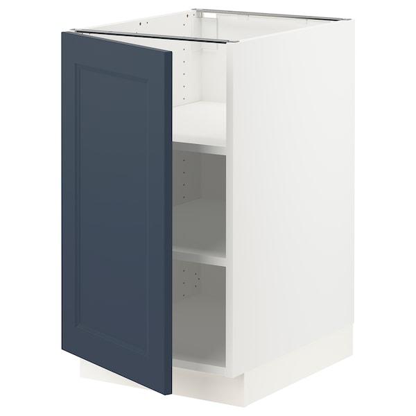 SEKTION Gabinete bajo con repisas, blanco Axstad/mate azul, 46x61x76 cm