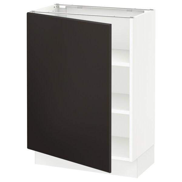 SEKTION Gabinete bajo con repisas, blanco/Kungsbacka carbón, 61x37x76 cm