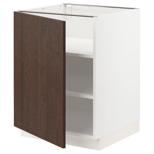 SEKTION Gabinete bajo con repisas, blanco/Sinarp café, 61x61x76 cm