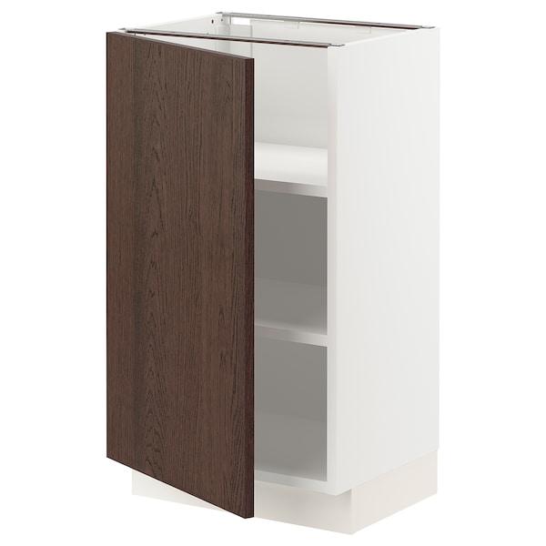 SEKTION Gabinete bajo con repisas, blanco/Sinarp café, 46x37x76 cm