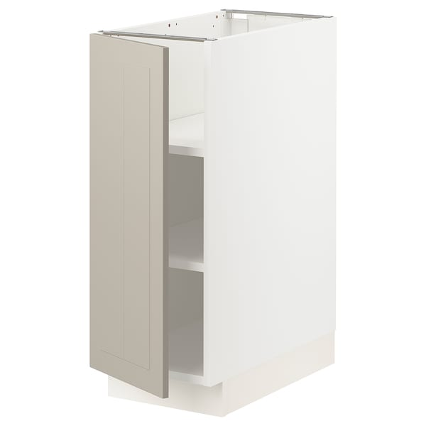 SEKTION Gabinete bajo con repisas, blanco/Stensund beige, 31x61x76 cm