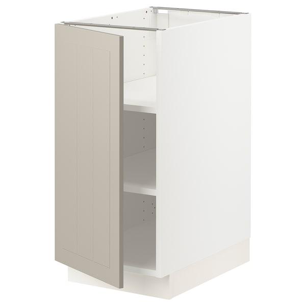 SEKTION Gabinete bajo con repisas, blanco/Stensund beige, 38x61x76 cm