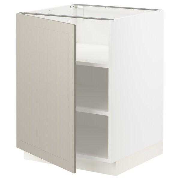 SEKTION Gabinete bajo con repisas, blanco/Stensund beige, 61x61x76 cm