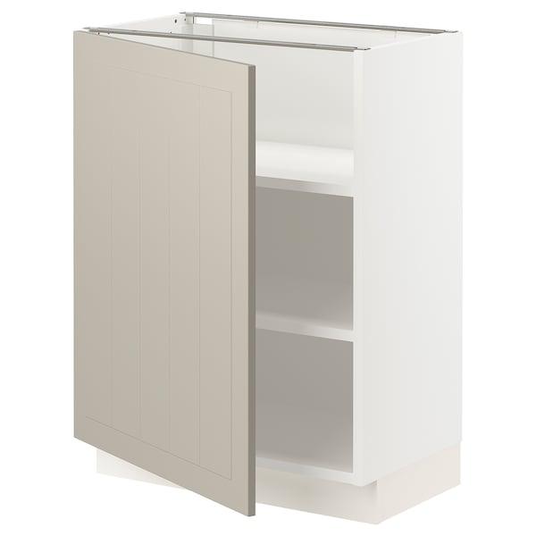 SEKTION Gabinete bajo con repisas, blanco/Stensund beige, 61x37x76 cm