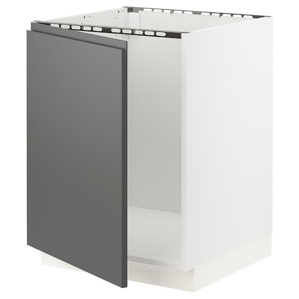 SEKTION Gabinete bajo para tarja, blanco/Voxtorp gris oscuro, 61x61x76 cm