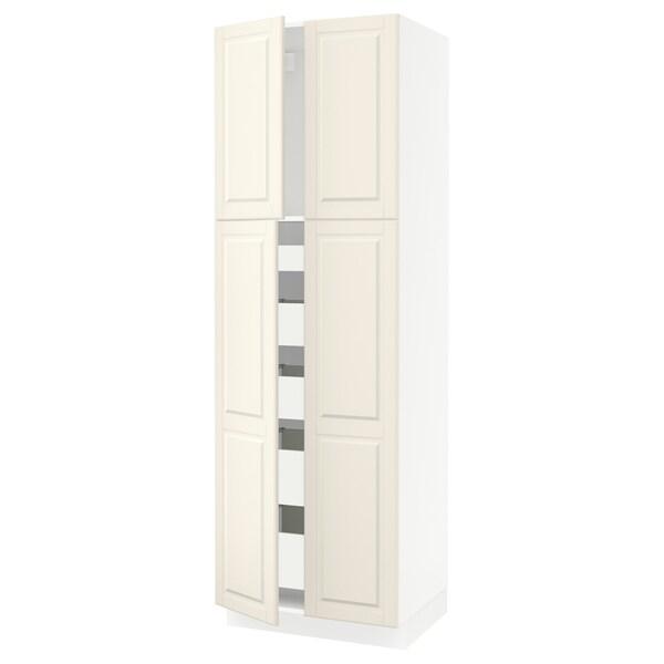 SEKTION Gabinete con 5 cajones y 4 puertas, blanco/Bodbyn hueso, 76x61x229 cm