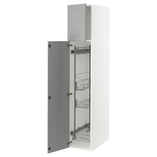 SEKTION Gabinete con canastas extraíbles, blanco/Bodbyn gris, 38x61x203 cm