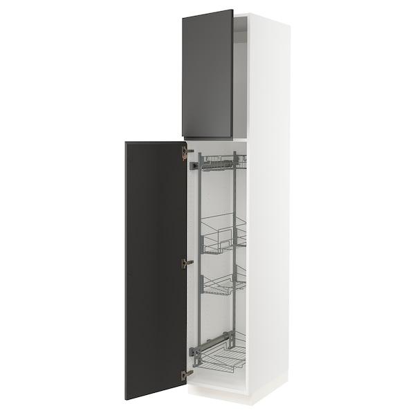 SEKTION Gabinete con canastas extraíbles, blanco/Voxtorp gris oscuro, 46x61x229 cm