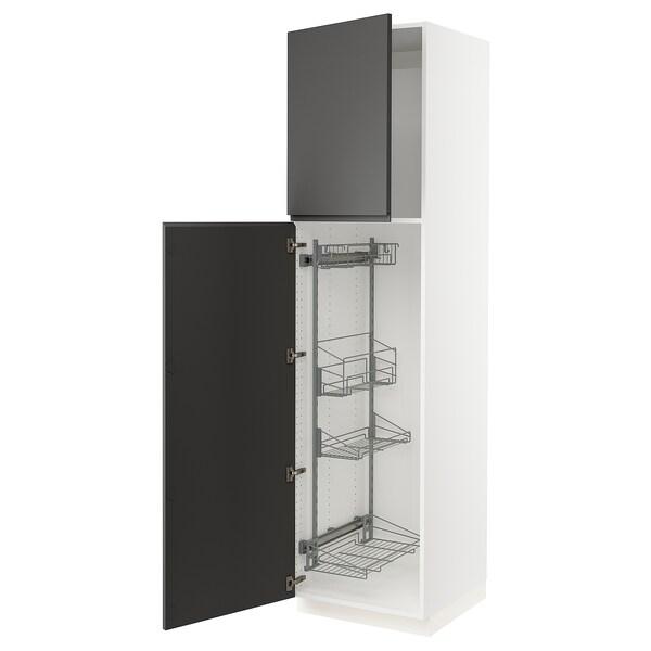 SEKTION Gabinete con canastas extraíbles, blanco/Voxtorp gris oscuro, 61x61x229 cm