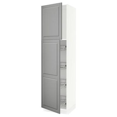 SEKTION Gabinete con puerta y canastas, blanco/Bodbyn gris, 61x61x229 cm