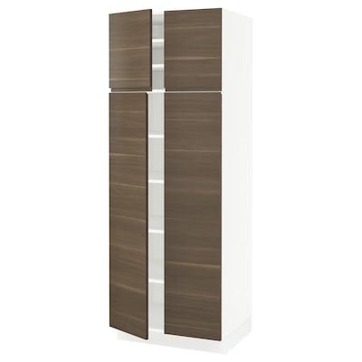 SEKTION Gabinete con repisas y 4 puertas, blanco/Voxtorp efecto nogal, 76x61x203 cm