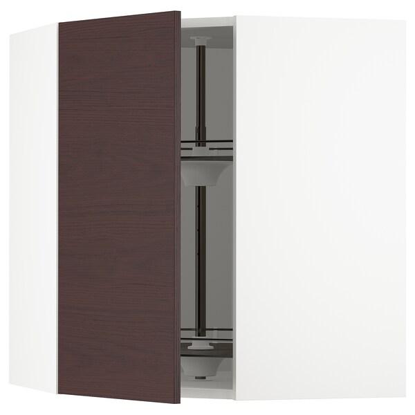 SEKTION Gabinete de esquina con carrusel, blanco Askersund/café oscuro laminado efecto fresno, 66x37x76 cm