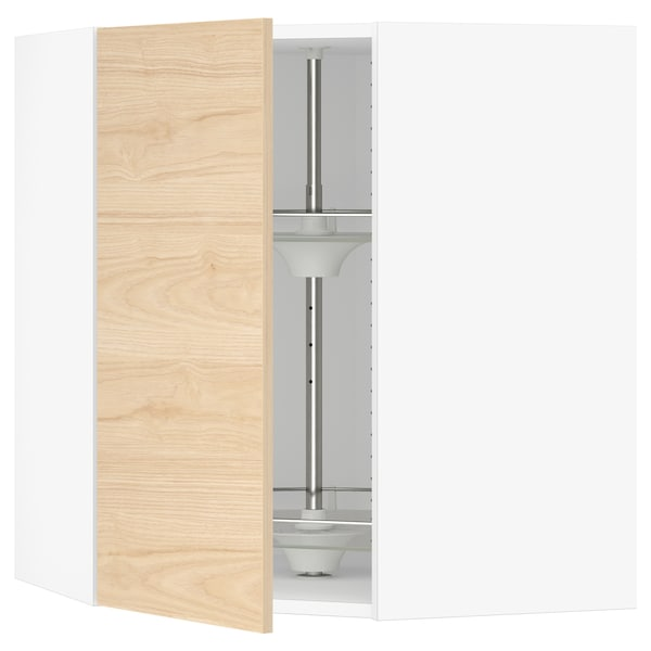 SEKTION Gabinete de esquina con carrusel, blanco/Askersund efecto fresno claro, 66x37x76 cm