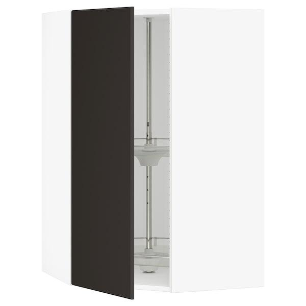 SEKTION Gabinete de esquina con carrusel, blanco/Kungsbacka carbón, 66x37x102 cm