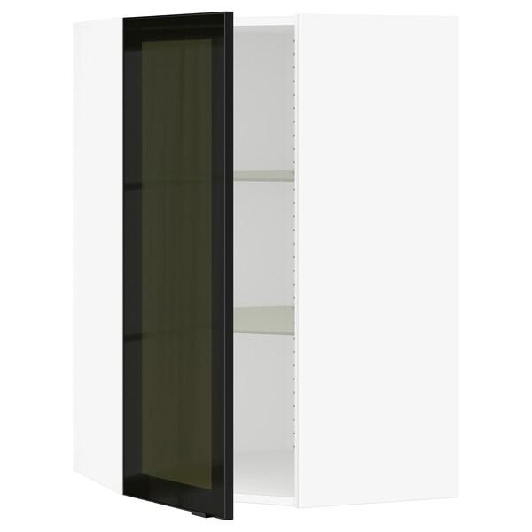 SEKTION Gabinete de esquina con repisas, blanco/Jutis vidrio ahumado, 66x37x102 cm