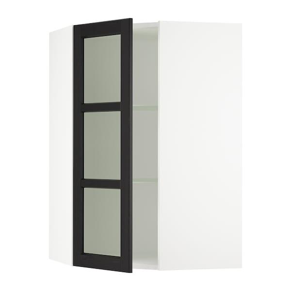 SEKTION Gabinete de esquina con repisas, blanco/Lerhyttan tinte negro, 66x37x102 cm