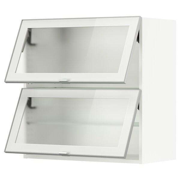 SEKTION Gabinete de pared con 2 puertas, blanco/Jutis vidrio esmerilado, 76x37x76 cm