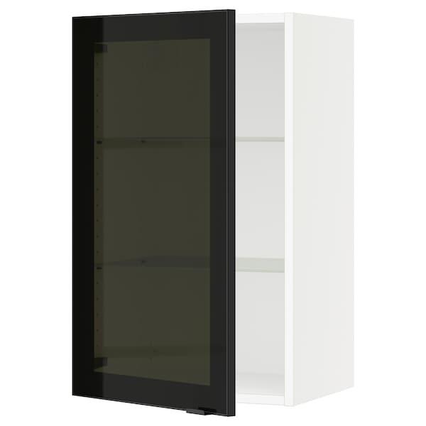 SEKTION Gabinete de pared con puerta, blanco/Jutis vidrio ahumado, 46x37x76 cm