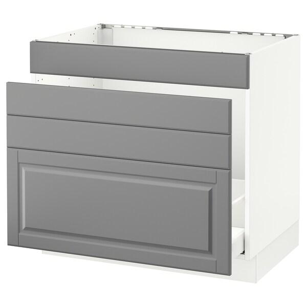 SEKTION Gabinete para fregadero, blanco Maximera/Bodbyn gris, 91x61x76 cm
