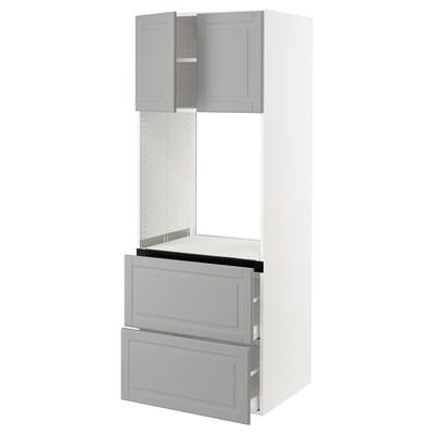 SEKTION Gabinete para horno, 2 cajones, blanco/Bodbyn gris, 76x61x203 cm