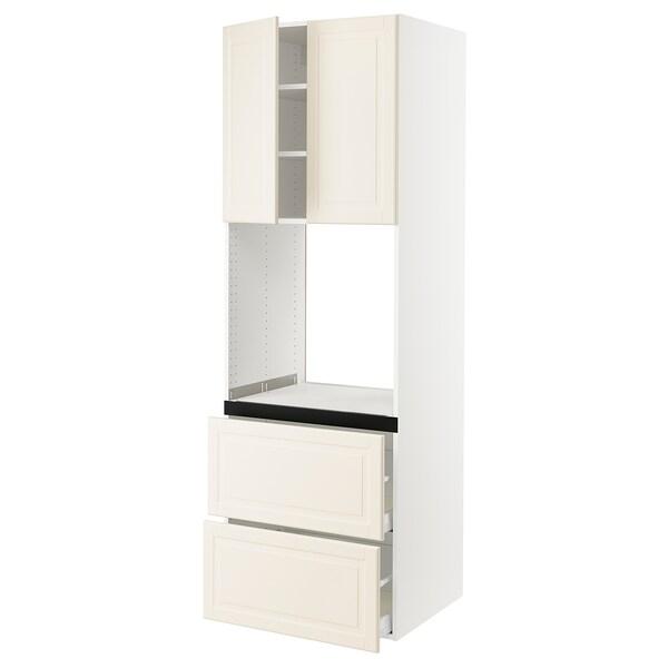 SEKTION Gabinete para horno, 2 cajones, blanco/Bodbyn hueso, 76x61x229 cm