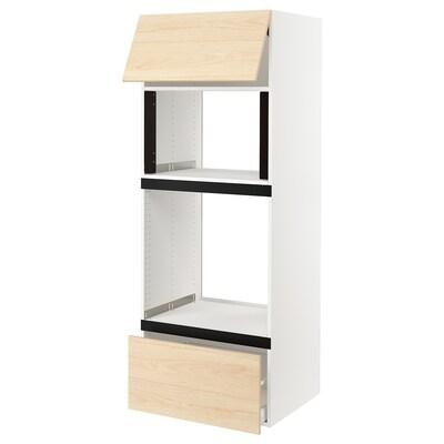 SEKTION Gabinete para microondas y horno, blanco/Askersund efecto fresno claro, 76x61x203 cm