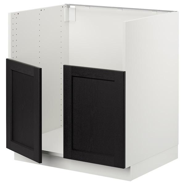 SEKTION Gabinete para tarja doble BREDSJÖN, blanco/Lerhyttan tinte negro, 76x61x76 cm