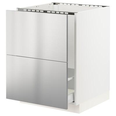 SEKTION / MAXIMERA Clóset bajo 2 tarjas de frente, blanco/Vårsta ac inox, 61x61x76 cm