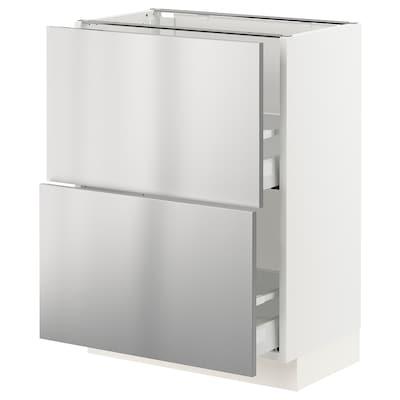 SEKTION / MAXIMERA Clóset bajo cocina, 2 cajones, blanco/Vårsta ac inox, 61x37x76 cm