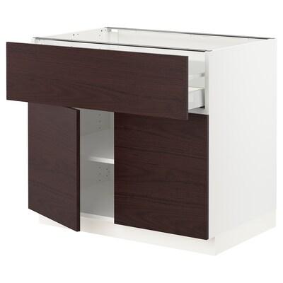 SEKTION / MAXIMERA Clóset bajo cocina, 2 puertas cajón, blanco Askersund/café oscuro laminado efecto fresno, 91x61x76 cm