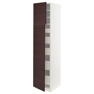 SEKTION / MAXIMERA Gabinete alto c/2 puertas/5 cajones, blanco Askersund/café oscuro laminado efecto fresno, 46x61x203 cm