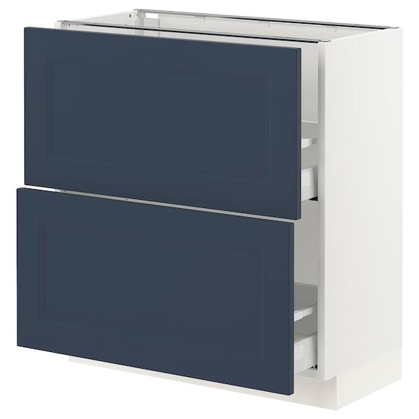SEKTION / MAXIMERA Gabinete bajo con 2 cajones, blanco Axstad/mate azul, 76x37x76 cm