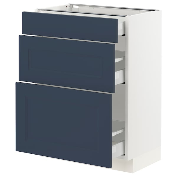 SEKTION / MAXIMERA Gabinete bajo con 3 cajones, blanco Axstad/mate azul, 61x37x76 cm