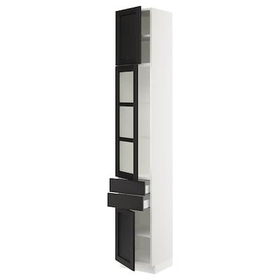 SEKTION / MAXIMERA Gabinete con 2 cajones y 2 puertas, blanco/Lerhyttan tinte negro, 38x37x229 cm