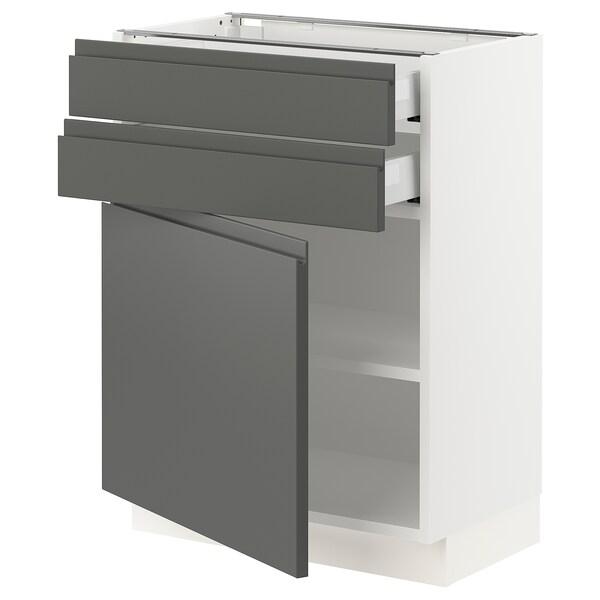 SEKTION / MAXIMERA Gabinete con  2 cajones y 2 puertas, blanco/Voxtorp gris oscuro, 61x37x76 cm