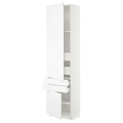 SEKTION / MAXIMERA Gabinete con 2 puertas y 4 cajones, blanco/Axstad blanco mate, 61x37x229 cm