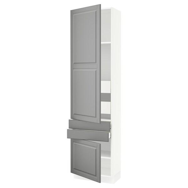 SEKTION / MAXIMERA Gabinete con 2 puertas y 4 cajones, blanco/Bodbyn gris, 61x37x229 cm