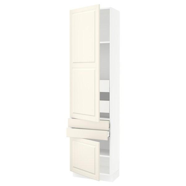 SEKTION / MAXIMERA Gabinete con 2 puertas y 4 cajones, blanco/Bodbyn hueso, 61x37x229 cm