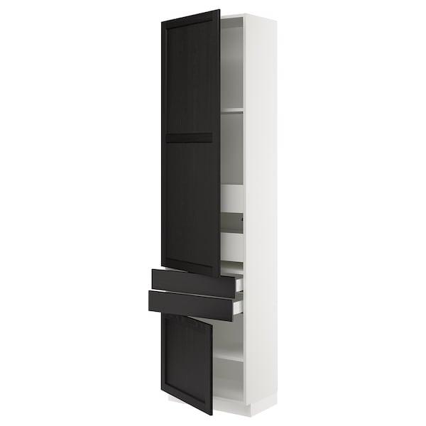 SEKTION / MAXIMERA Gabinete con 2 puertas y 4 cajones, blanco/Lerhyttan tinte negro, 61x37x229 cm